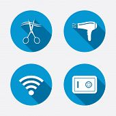 Постер, плакат: Hotel services icon Wi fi Hairdryer and safe