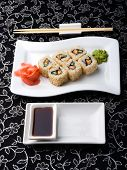 foto of soy sauce  - California roll sushi with pickled ginger - JPG