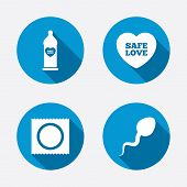 stock photo of condom  - Safe sex love icons - JPG