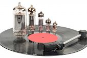 pic of lp  - Vintage vacuum tubes with vinyl record - JPG