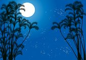 stock photo of moon silhouette  - illustration with palm tree silhouettes under moon - JPG