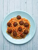 picture of meatball  - close up of rustic american italian meatball spaghetti - JPG