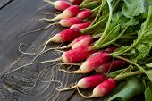 picture of radish  - Fresh young radish on a wooden boards - JPG