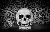 foto of eye-sockets  - Still life Black and white of human skull with dry red rose in teeth on wooden table Art and background - JPG