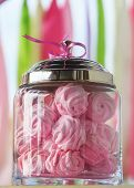 picture of buffet  - Delicious sweet buffet with pink marshmallow glass bowls - JPG