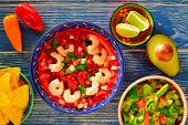picture of nachos  - Ceviche de Camaron shrimp with nachos and guacamole mexican food - JPG
