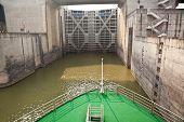 foto of dam  - Ship entering the first lock of Three Gorges Dam in Yangtze river - JPG