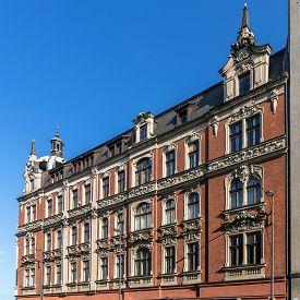 stock photo of tenement  - Facade of the tenement built in Neo - JPG