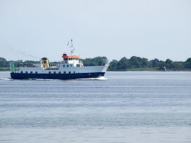 picture of passenger ship  - Small passengers and cars cruise ferry ship sailing in calm water  - JPG