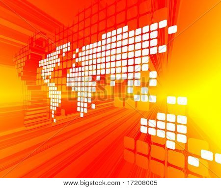 3d concept of white dotted world map on red yellow background 3d concept of white dotted world map on red yellow background poster gumiabroncs Gallery