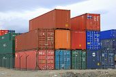 stock photo of boxcar  - A pile of shipping containers at the Ushaia port - JPG