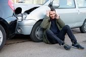 Man Calling First Aid After Car Crash poster