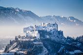 Hohensalzburg Fortress In Winter, Salzburg, Austria poster