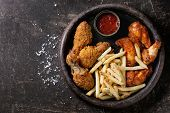 Fried Chicken Legs With French Fries poster