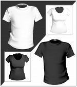 Vector illustration. T-shirt design template (men and women). Black and white.