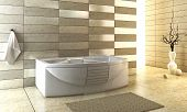 foto of ceramic tile  - 3d rendering of the modern bathroom with backlight - JPG