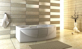 picture of ceramic tile  - 3d rendering of the modern bathroom with backlight - JPG