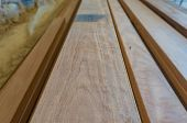 Perspective View Of Hardwood Planks. Construction Materials Background, Texture poster