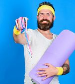 Athlete Wear Bandages For Sweat. Man Bearded Athlete Hold Fitness Mat And Tape Measure. Athlete Guid poster