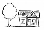 Black Brush And Ink Artistic Rough Hand Drawing Of Small Stand-alone Single-family House With Tree. poster