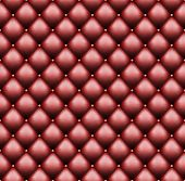 Red Leather Upholstery With Sewin Rivets. Luxury Background. Seamless Pattern. Vector Illustration. poster