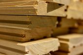 Stack Of Boards. Industrial Background. Floor Boards. Larch Boards. Boards With Grooves. poster