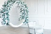 Christmas Minimalism. White Sitting Ring With Christmas Decoration In Modern White Classical Interio poster