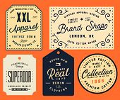 Collection Of Clothing Tags, Labels, Badges, Design Elements. Denim Typography Labels poster