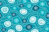 Winter Hibernation Of Forest Animals Seamless Pattern. Vector Background With Sleeping Animals. Anim poster