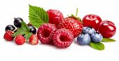 Set fresh berry. Mix summery fruit raspberry strawberry currant blueberry and wild strawberry with g poster