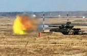 image of abram  - tank shoot during the military training exercise - JPG