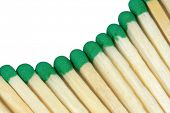 stock photo of sulfur tip  - The wooden matches with green heads - JPG