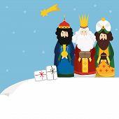 Christmas Greeting Card, Invitation. Three Magi Bringing Gifts And Falling Star. Biblical Kings Casp poster