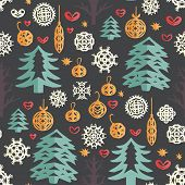 Christmas Seamless Pattern. Paper Craft Design, Cut Out By Scissors From Paper - Snowflakes, Fir Tre poster