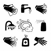 Hygiene Black Icons. Antiseptic Cream And Hands Washing, Antibacterial Soap And Personal Towel Silho poster
