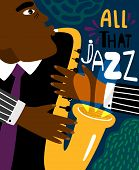 Jazz Poster. Clubbing Sax Music Placard Contemporary Style, Saxophonist African Jazz Man Club Modern poster