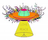 Ufo Spaceship. Unidentified Flying Object With Light Beam, Flowers And Hippie Peace Symbol. Peace, L poster