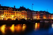 View Of Famous Nyhavn Area In The Center Of Copenhagen, Denmark At Night poster