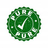 Vector Pure Scratched Stamp Seal With Tick Inside. Green Pure Imprint With Scratced Surface. Round R poster
