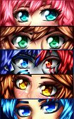 Set Of Eyes Of Anime Character. The Eyes Are Of Several Characters That I Created. poster