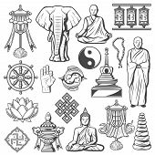Buddhism Religion Icons And Signs Isolated. Lotus And Rosary, Elephant, Fingers Showing Ok, Buddha I poster