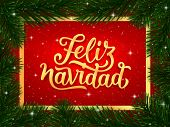 Feliz Navidad Spanish Merry Christmas Gold Calligraphy Text In Golden Frame And Border Of Fir Tree B poster