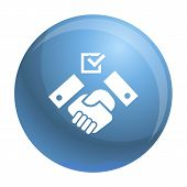 Political Hand Shake Icon. Simple Illustration Of Political Hand Shake Icon For Web Design Isolated  poster
