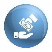 Hand Give Bribery Money Icon. Simple Illustration Of Hand Give Bribery Money Icon For Web Design Iso poster
