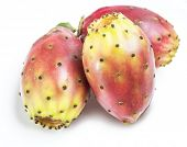 Opuntia fruit or prickly pear fruit on white background. Close-up. poster