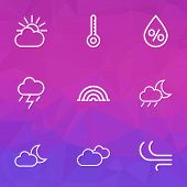 Climate Icons Line Style Set With Overcast, Wind, Arc And Other Temperature Elements. Isolated Vecto poster