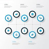 Climate Icons Colored Set With Overcast, Drop, Snow And Other Rainfall Elements. Isolated Vector Ill poster