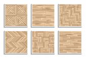 Set Of Seamless Parquet Textures. 3d Patterns Of Wooden Materials poster