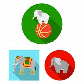 Vector Illustration Of Elephant And Asian Sign. Set Of Elephant And Elephant Stock Vector Illustrati poster