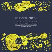 Country Music Festival Retro Poster Vector Template. Hand Drawn Live Music Concert, Event Banner Con poster